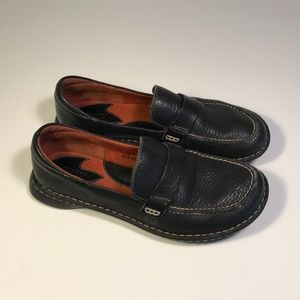 Born Black Leather Loafers Women Size 8